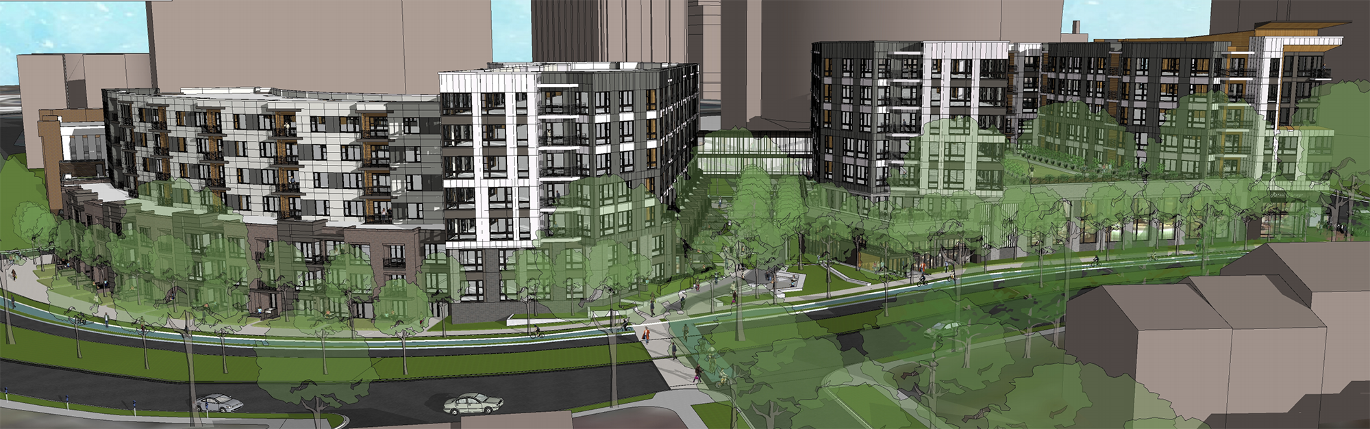 Rendering of planned mixed-use development at 8787 Georgia Aveue