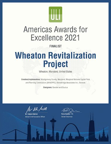 Americas Awards for Excellence 2021 Finalist certificate for the Wheaton Revitalization Project