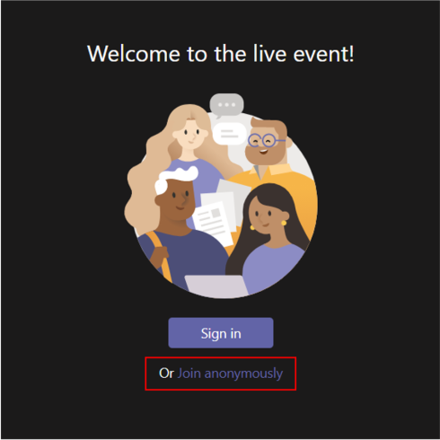 """Welcome to the live event! screen with """"Join anonymously"""" highlighted."""